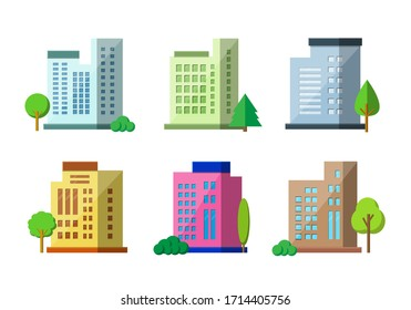Flat architecture on white background, Colorful company building and tree vector set, Modern construction colection city and town design