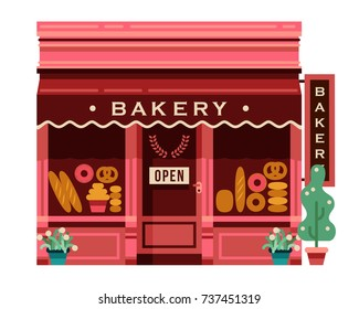 flat architecture store front pink bakery shop with bread products in window vector illustration