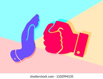 Flat art design graphic image of icon peace hand gesture, stop the red fist of violence on pink and blue background. concept of fighting the abuse of the strong over the weak