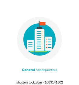 flat art headquarters. Business center. Scalable vector icon in modern cartoon style. flat elements vector illustration.