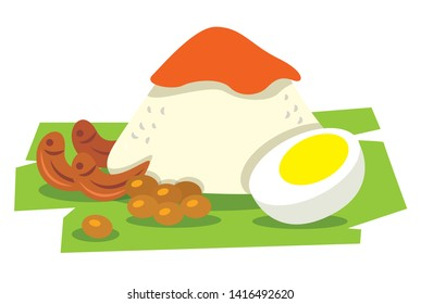 Flat art of Nasi Lemak. Traditional malay food. Nasi Lemak rice with boiled egg, peanuts, banana leaf. Spicy Sambal on top of rice. - vector