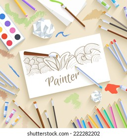 flat art painter workshop with paint supplies equipment tools background. Vector illustration design