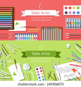 flat art painter workshop with paint supplies equipment tools background. Vector illustration design