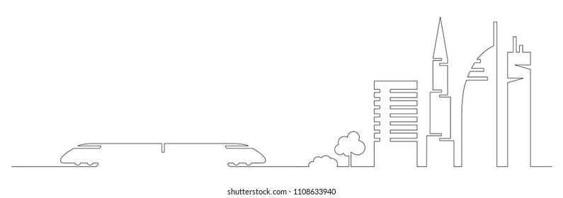 Flat artistic one line design vector city train and city buildings, skyscrapers, trees shape silhouettes drawn in minimalism slyle by one single line. Slylish urban design for web designers