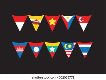 flat Asean triangle garland flag vector