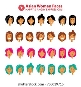 Flat Asian Woman Character Faces with Different Emotions - Happy, Angry, Annoyed, Frustrated. Various Hair Style, Haircut and Colours Vector Set. Art Simple Design Illustration.