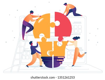 Flat Assemble Colored Light Bulb from Puzzles. Vector Illustration on White Background. Men Casual Clothes and Woman Animatedly Gathering Large Lamp Out Equal Parts Puzzle Against Background Laptop.