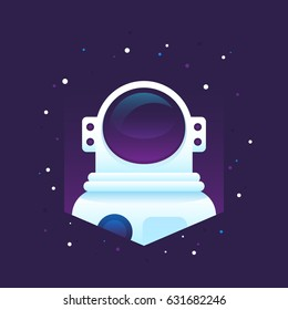 Flat astronaut portrait in deep space in space suit, helmet and stars. Modern dimensional vector illustration. Perfect for print, t-shirt design, wallpapers, apparel and web design, as logo or icon.
