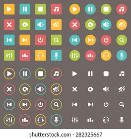 Flat Audio Icons
