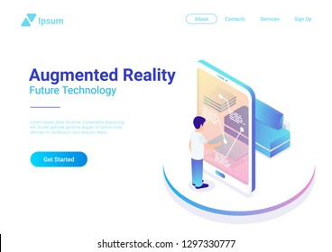 Flat augmented realty VR Virtual Reality vector isometric illustration web banner. Man using smartphone interface touching phone screen. Future technology
