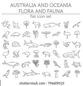 Flat Australia and Oceania flora and fauna  elements. Animals, birds and sea life simple line icon set. Vector illustration