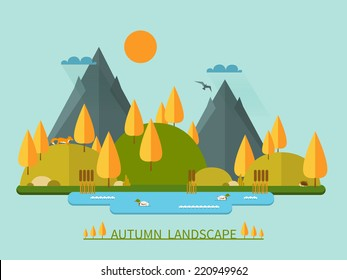 Flat autumn nature landscape illustration. Colorful vector flat icon set: nature, mountains, lake, ducks, sun, trees, fox, eagle, cane, hedgehog, clouds. Vector illustration in trendy flat style.
