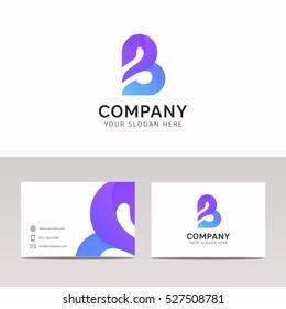 Flat B letter icon sign company logo vector design