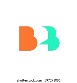 Flat B2B letters vector logo template design, business to business symbol, icon design isolated on white background