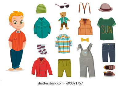 Flat baby boy fashion icon set with little child and his clothes for different seasons vector illustration