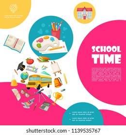 Flat back to school concept with bus building painting palette easel books scissors bag trophy telescope apple microscope calculator globe ruler pencils vector illustration