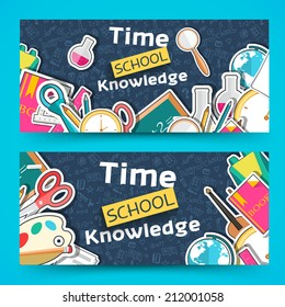 flat back to school horizontal banners concept. Vector illustration design