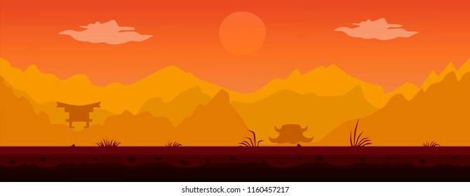 Flat background in Chinese style with mountains and Pagodas at sunset.
