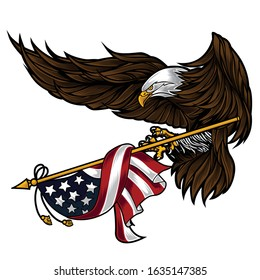 Flat background with eagle  for usa independence day 4 th vector