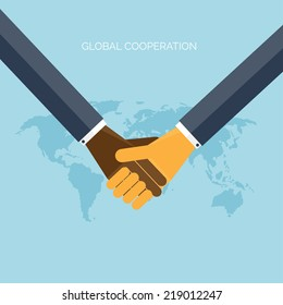 Flat background with hands.Global cooperation and partnership. Business idea and teamwork.