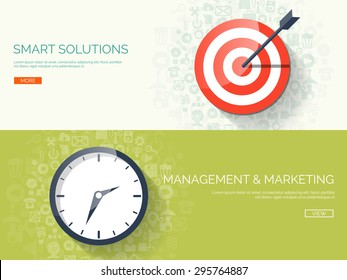 Flat background with target and clock. Smart solutions and business targeting. Management and planning.