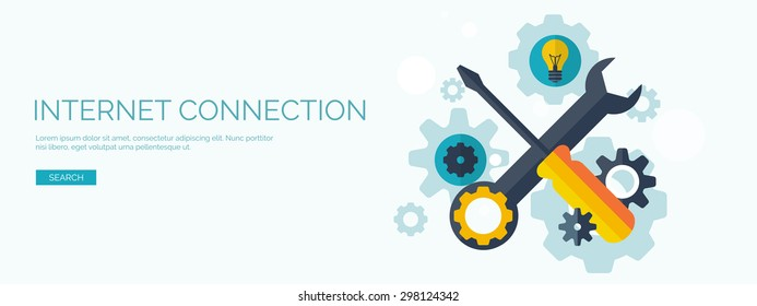 Flat background with tools. Wrench and screwdriver,. Internet settings concept background.