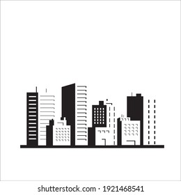 flat balck and white silhouette illustration of city building vector, urban skyscraper graphic background