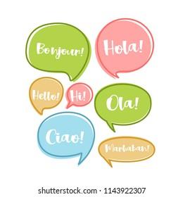 flat balloon speech bubbles set with hello messages vector illustration