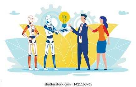 Flat Banner Artificial Intelligence Gives Idea. Poster Robots Brought Light Bulb to Humans. Man and Woman Enjoy Work and Workings Artificial Intelligence. Vector Illustration Cartoon.