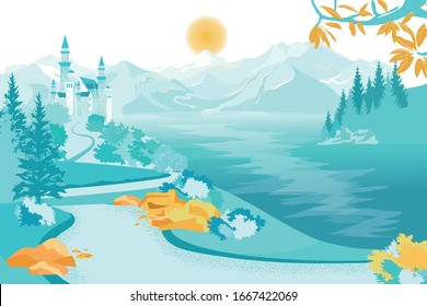Flat Banner Beautiful Castle Background Mountains. Tall Castle with Towers Stands on Hill. Road Leads to Castle through Hills, below Wide River. Sun Shines over Mountains. Cold Landscape.