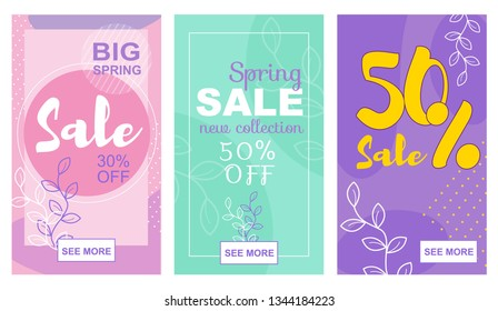 Flat Banner Big Spring Sale 30 50 Percent Off New Collection. Vector Illustration on Colored Background. Vertical Set Floral Ornament. Two Season Sales for Summer and Winter Clothing Collections.