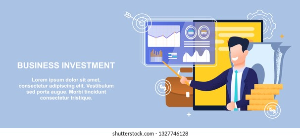 Flat Banner Business Investment in Economy Sector. Vector Illustration on Blue Background. Happy Young Man in Suit Shows with Pointer on Chart Results Activity against Background Tablet and Cash.