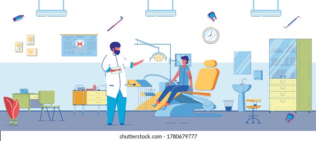 Flat Banner Examination In Dentist Office, Slide. Guy Is Sitting Chair in Doctor's Office and Waiting for an Examination. Doctor is Talking to Patient. Interior and Equipment Dental Office.