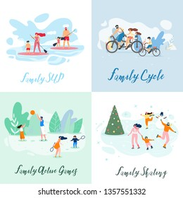 Flat Banner Family Sup Cycle Active Games Skating. Vector Illustration on Color Background. Set Winter and Summer Interesting Vacation for Children and Adults. Joint Games Unite Family.