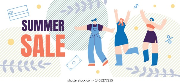 Flat Banner, Flyer Summer Sale Lettering Cartoon. Special Hot Sales and Offer Goods for Men and Women on Vacation or Vacation at Bargain Price in Online Stores and Shopping Centers
