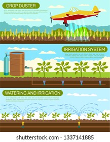 Flat Banner Grop Duster and Irrigation System. Vector Illustration on Color Background. Set Watering and Irrigation. Specialized Aircraft for Agriculture Flies Over Fields Farm and Sprays Fertilizer.
