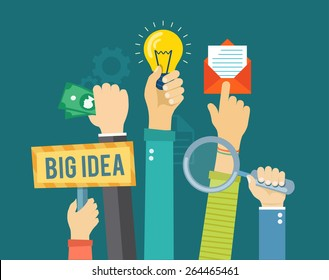Flat banner with hands holding magnifying glass, bulb, money, envelope and sign. Developing and marketing illustration.  Eps10