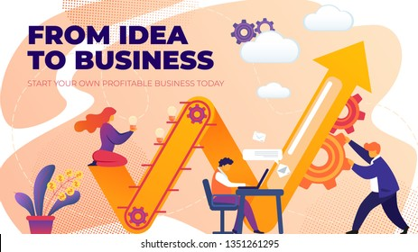 Flat Banner from Idea to Business Entrepreneurship. Vector Illustration on Pink Background. Start your Own Profitable Business Today. Woman is Holding Light Bulb, Man is Spinning Gears.