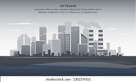 Flat Banner Illustration Gray Panorama Cityscape. Silhouette Modern City. Flying Plane over Metropolis Building. Skyscraper Business Center Company. Office Space. Industrial Centre. Smoke Plant