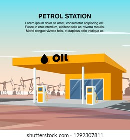 Flat Banner Illustration Yellow Petrol Car Station. Refueling Vehicles with High Quality Petroleum Products. Column Gas Filling on Highway. Crude Oil Production and Processing Plant. Burning Substance