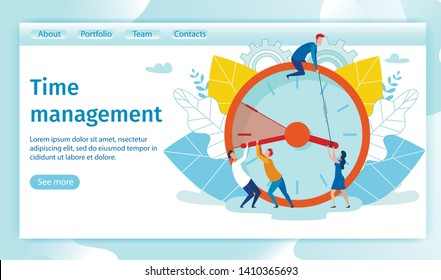 Flat Banner Inscription Time Management Cartoon. Men and Women Try to Stop Time on Clock. Postponing Task, Employees Often Start Work Late, Experiencing Emotional Stress. Vector Illustration.