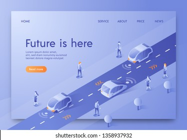 Flat Banner Isometric is Written Future is Here. Vector Illustration. Futuristic Transport Future Moves along Road with Help Control Via Internet. Cityscape Mockup Big City Street.