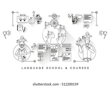 Flat banner, one page web design template of language school and courses. training program, study foreign language abroad, internet lessons. Flat design graphic concept, website elements layout