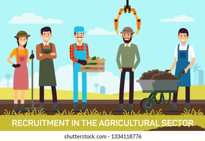 Flat Banner Recruitment in Agricultural Sector. Vector Illustration on Color Background. Workers on Field are Harvesting. Young Men and Women Farmers Smile Correct Best Recruitment.