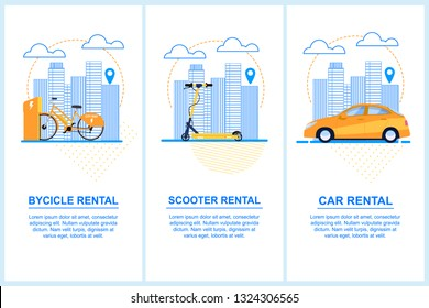 Flat Banner Set Bycicle Scooter Car Rental. Vector Illustration Background Dotted Lines and Dots. An Orange Bike in Parking Lot. Yellow Scooter in a Big City. Orange Car Background Urban Buildings.
