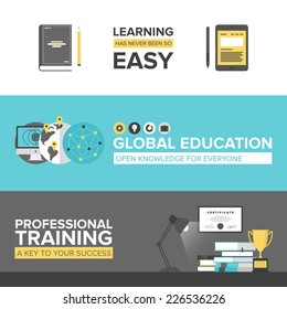 Flat banner set of global online education, success professional training, electronic learning process, awards winning and knowledge elements. Modern design style vector illustration concept.