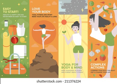 Flat banner set of health yoga life, practice yoga on physical, mental, emotional, spiritual, energetic level, equipment and things for starting. Flat design style modern vector illustration concept
