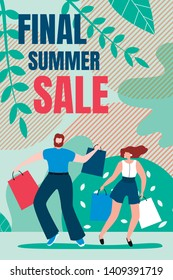 Flat Banner is Written Final Summer Sale Cartoon. Vertical Flyer Invitation for Sale Goods. Man and Woman are Jumping from Shopping Bag. Joy Buying Goods at Bargain Price. Vector Illustration.