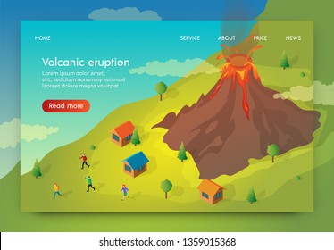 Flat Banner is Written Volcanik Eruption Isometric. People Flee their Homes to Escape Volcanic Eruption. Settlement People Located Near Volcano.  Dangerous Zone Active Volcano Eruption.