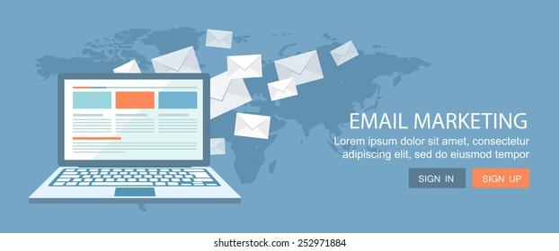 Flat banner.E-mail marketing illustration. Eps10